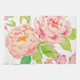 水彩画のピンクのシャクヤクパターン キッチンタオル