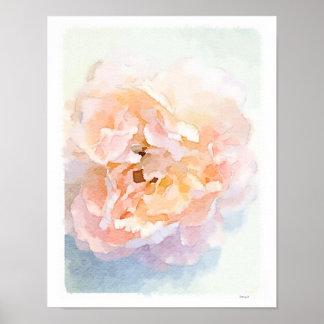 水彩画のピンクのシャクヤクポスター芸術のプリント ポスター