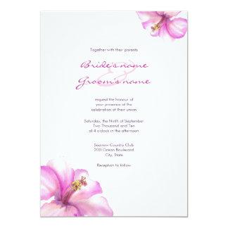 水彩画のピンクのハイビスカスの結婚式招待状 カード