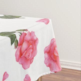 水彩画のピンクのバラのぼろぼろのシックなデザイン テーブルクロス