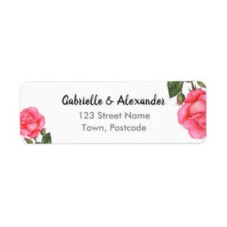 水彩画のピンクのバラの植物の花の芸術の結婚式 ラベル