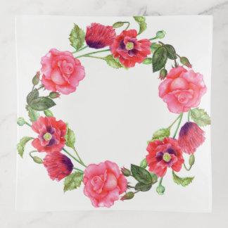 水彩画のピンクのバラの花の芸術パターン トリンケットトレー