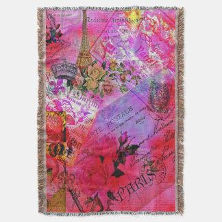 水彩画のピンクのフランスのな献立表の郵便総括的な投球 スローブランケット