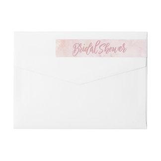 水彩画のピンクのブライダルシャワー ラップアラウンド返信用宛名ラベル