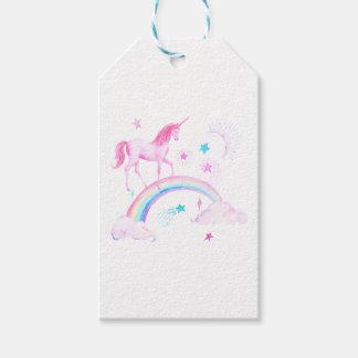 水彩画のピンクのユニコーンおよび虹 ギフトタグ
