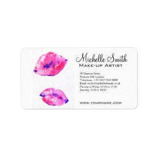 水彩画のピンクの唇の化粧のブランディング 宛名ラベル