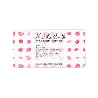 水彩画のピンクの唇パターン化粧のブランディング 宛名ラベル