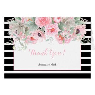 水彩画のピンクの春の花のストライプは感謝していしています ノートカード