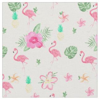 水彩画のピンクの熱帯フラミンゴの夏の花 ファブリック