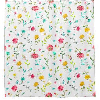 水彩画のピンクの花のシャワー・カーテン シャワーカーテン