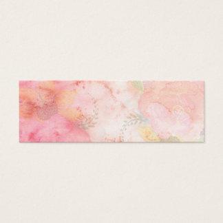 水彩画のピンクの花の背景 スキニー名刺