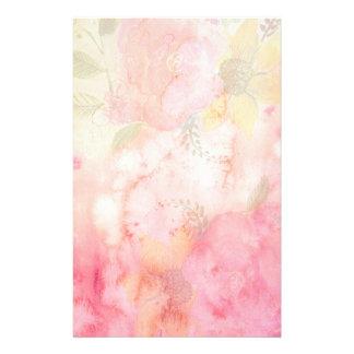 水彩画のピンクの花の背景 便箋