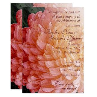 水彩画のピンクの菊の結婚式の招待2 12.7 X 17.8 インビテーションカード
