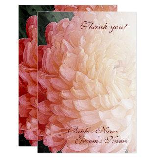 水彩画のピンクの菊の結婚式は感謝していしています 8.9 X 12.7 インビテーションカード