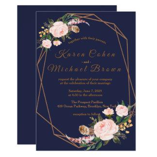 水彩画のピンクの金ゴールド海軍Bohoのシックな花の結婚式 カード