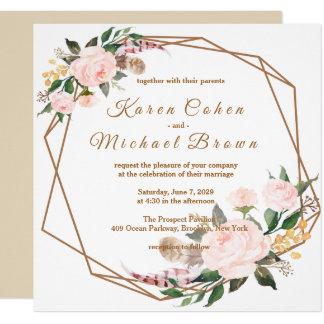 水彩画のピンク及び金ゴールドのBohoのシックな花の結婚式 カード