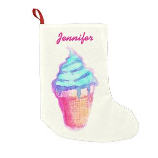 水彩画のファンキーでクールな湿ったアイスクリームコーン スモールクリスマスストッキング