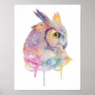 水彩画のフクロウ ポスター