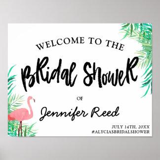 水彩画のフラミンゴの熱帯ブライダルシャワーの歓迎 ポスター