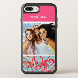 水彩画のフラミンゴは|あなたの写真を加えましたり及び示します オッターボックスシンメトリーiPhone 8 PLUS/7 PLUSケース