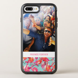 水彩画のフラミンゴは|あなたの写真及び文字を加えます オッターボックスシンメトリーiPhone 8 PLUS/7 PLUSケース