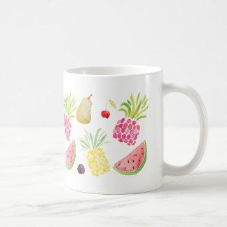 水彩画のフルーツのさくらんぼのパイナップルスイカ コーヒーマグカップ