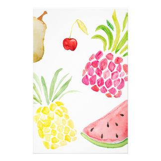 水彩画のフルーツのさくらんぼのパイナップルスイカ 便箋