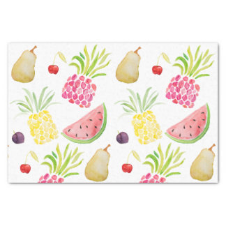 水彩画のフルーツのさくらんぼのパイナップルスイカ 薄葉紙