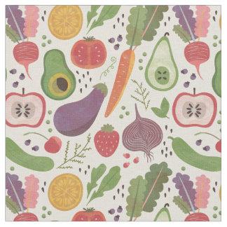 水彩画のフルーツ及び野菜 ファブリック