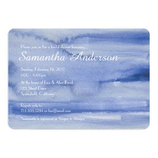 水彩画のブライダルシャワーの招待のオーシャンブルー カード