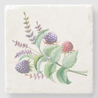 水彩画のブラックベリーのラズベリーの花束 ストーンコースター