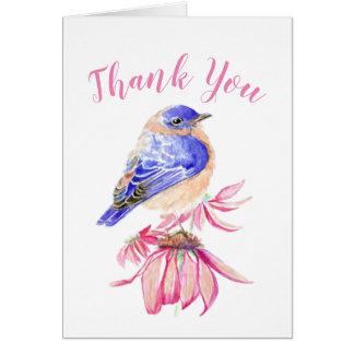 水彩画のブルーバードの聖なる書物、経典の鳥の芸術ありがとう カード