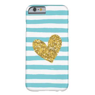水彩画のプールの青い縞の金ゴールドのハートのiPhone 6 Barely There iPhone 6 ケース