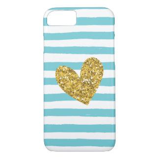 水彩画のプールの青い縞の金ゴールドのハートのiPhone 7 iPhone 8/7ケース