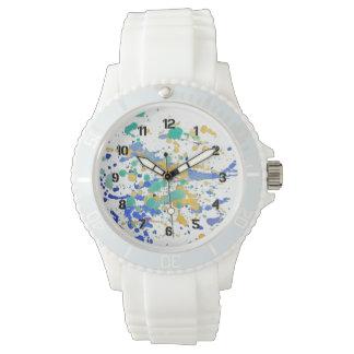 水彩画のペンキの(ばちゃばちゃ)跳ねる 腕時計