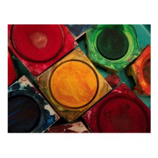 水彩画のペンキ箱のパレット ポストカード