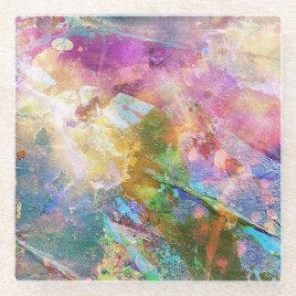 水彩画のペンキ3との抽象的でグランジな質 ガラスコースター