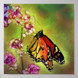 水彩画のマダラチョウのキャンバスのプリント(8x8) ポスター