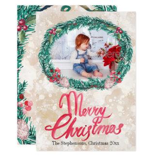 水彩画のマツリースのメリークリスマスの写真 カード