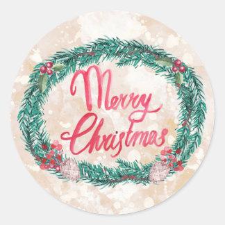 水彩画のマツリースのメリークリスマス ラウンドシール