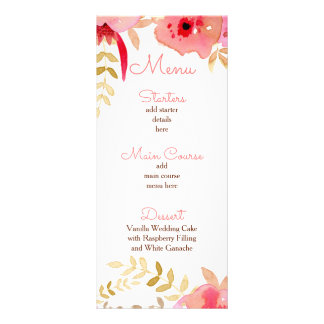水彩画のメニューを結婚する珊瑚のバラの花 ラックカード