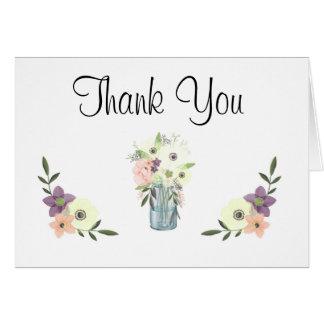 水彩画のメーソンジャーの花のベビーシャワーは感謝していしています カード