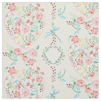 水彩画のモダンな花のハートのストライプのなトンボ ファブリック