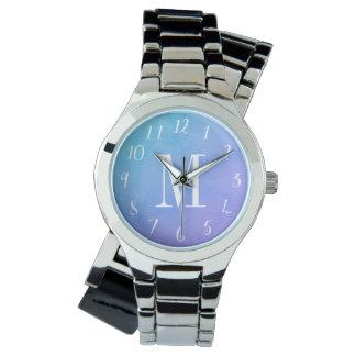 水彩画のモノグラムのな腕時計 ウオッチ