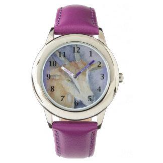 水彩画のヤギか子供 腕時計