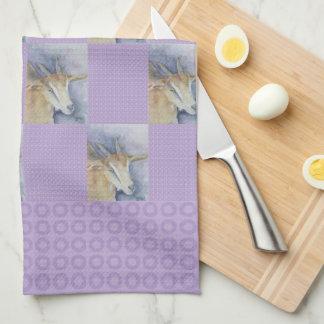 水彩画のヤギの台所タオル キッチンタオル