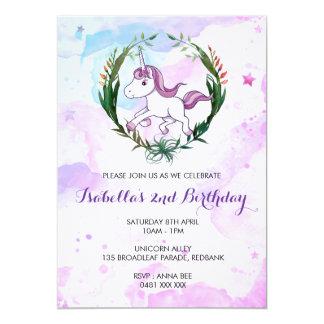 水彩画のユニコーンの誕生日の女の子の招待 カード