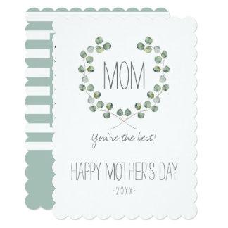水彩画のユーカリの葉フレーム|の母の日 カード