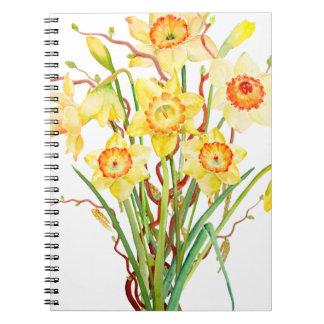 水彩画のラッパスイセンの花束 ノートブック