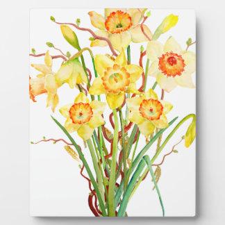 水彩画のラッパスイセンの花束 フォトプラーク